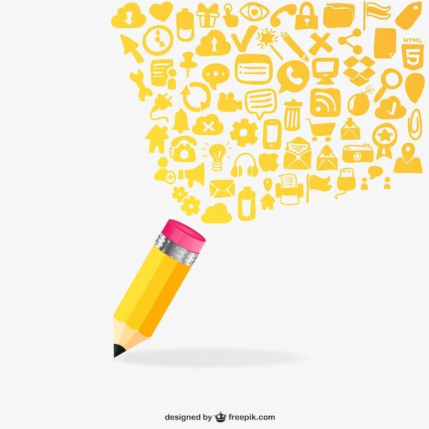 Ołówek I Płaskie Ikony Premium Wektorów