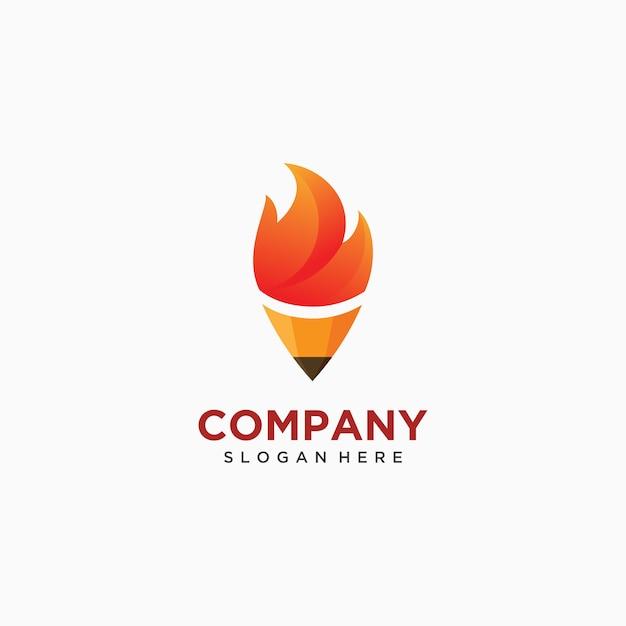 Ołówkowa Pochodnia Ogienia Loga Ikony Ilustracja Premium Wektorów
