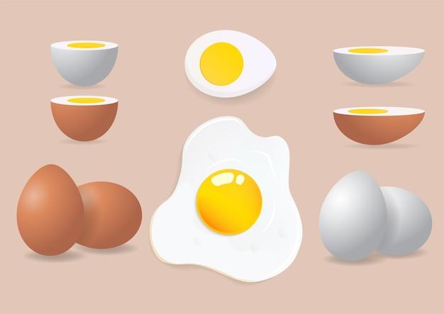 Omlet, Jajka świeże I Gotowane Premium Wektorów