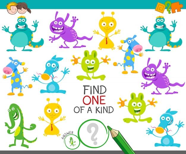 One Of A Kind Picture Game Edukacyjna Dla Dzieci Premium Wektorów