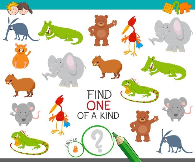 One Of A Kind Picture Game Edukacyjna Ze Zwierzętami Premium Wektorów