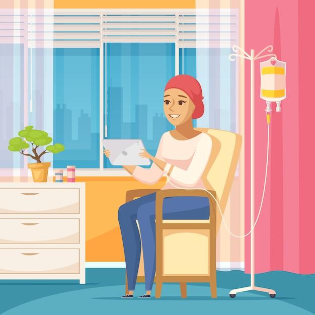 Onkologia pacjent i zakraplacz dożylny Darmowych Wektorów