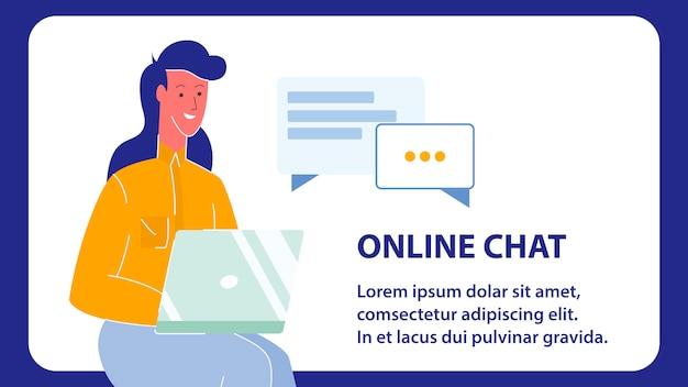 Online Czat Wektor Web Banner Z Miejsca Na Tekst Premium Wektorów