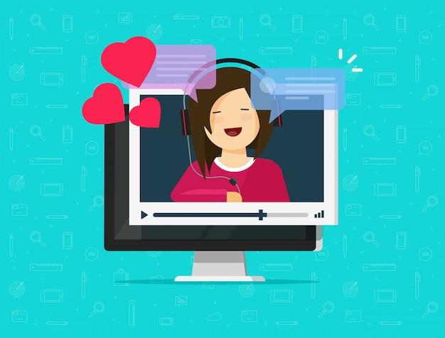 Online daleki datowanie na komputerowej wideo komunikaci app ilustraci Premium Wektorów