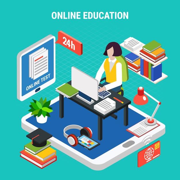 Online Edukacja Z Różnorodnymi Urządzeń Elektronicznych Pojęcia 3d Wektoru Isometric Ilustracją Darmowych Wektorów