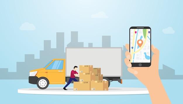 Online ładunek doręczeniowy system śledzenia z ciężarówki i gps pozycjonuje lokacje z ręka chwyta smartphone - wektor Premium Wektorów