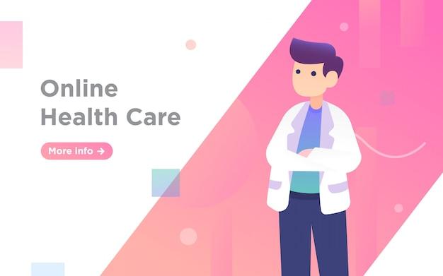 Online opieki zdrowotnej lekarza strony docelowej ilustracji Premium Wektorów
