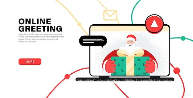 Online Powitanie Wesołych świąt Od świętego Mikołaja. Powitanie Dziecka Z Nowym Rokiem Przez Kamerę Internetową. Premium Wektorów