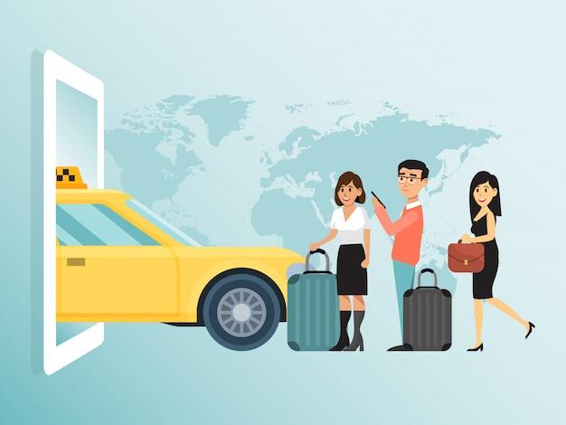Online Rozkazu Miasta Pojęcia Taxi, Pary Urocza Męska żeńska Czekanie Transportu Publicznego Bizneswomanu Bieg Ilustracja. Premium Wektorów