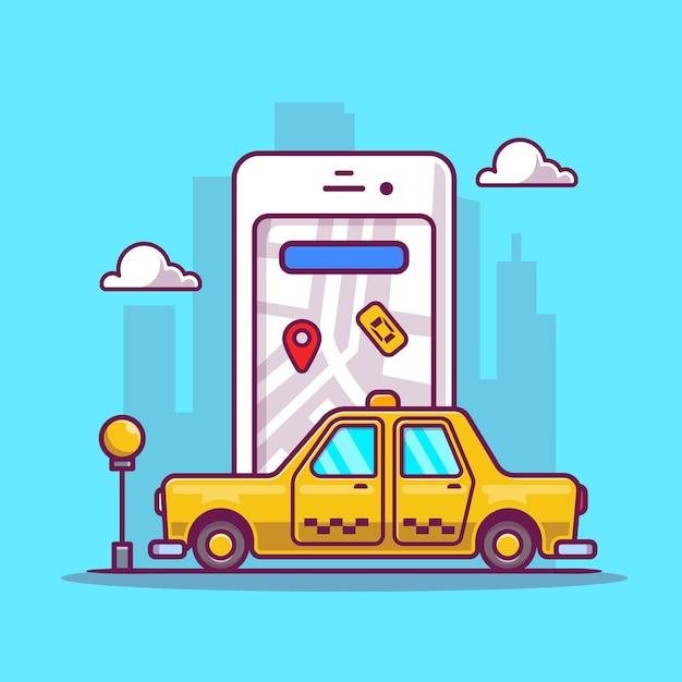 Online Taxi Transport Cartoon Darmowych Wektorów