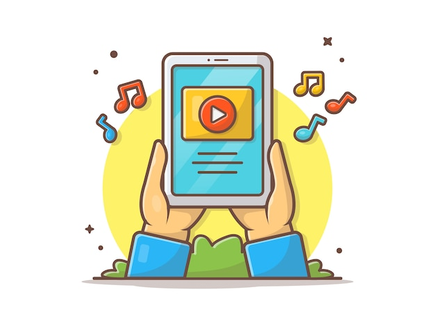 Online teledysk na pastylki ikony wektorowej ilustraci Premium Wektorów