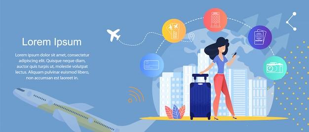 Online travel service. agencje podróży online. szablon Premium Wektorów