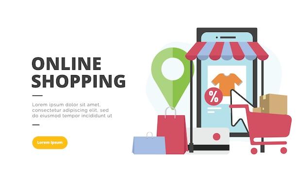 Online zakupy płaski projekt transparent ilustracja Premium Wektorów