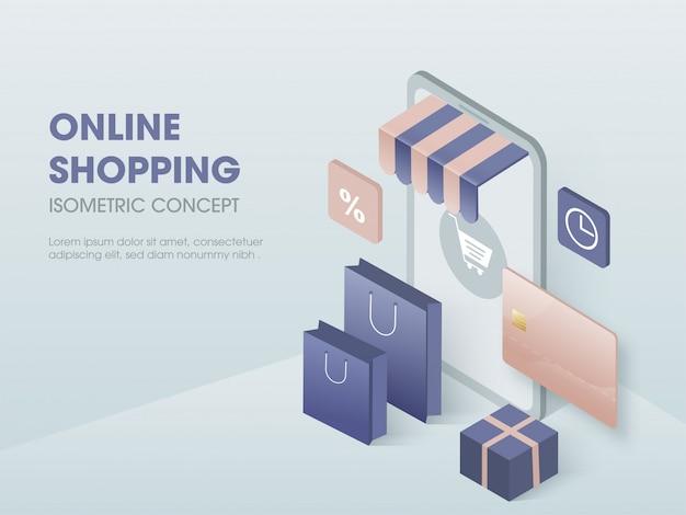 Online Zakupy Pojęcie, Izometryczna Ilustracja. Premium Wektorów