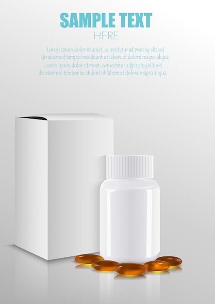 Opakowanie medyczne puste opakowania medyczne pudełko z plastikową butelką i pigułki Premium Wektorów