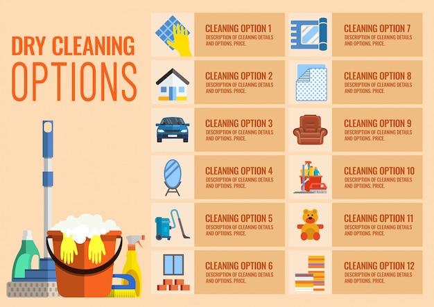 Opcje czyszczenia na sucho Premium Wektorów