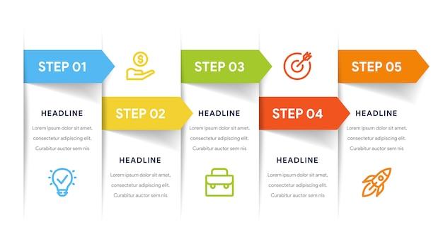 Opcje five infografika kroków, osi czasu, przepływu pracy Premium Wektorów