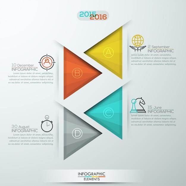 Opcje infografiki nowoczesny styl transparent na 4 kroki z trójkątów Premium Wektorów