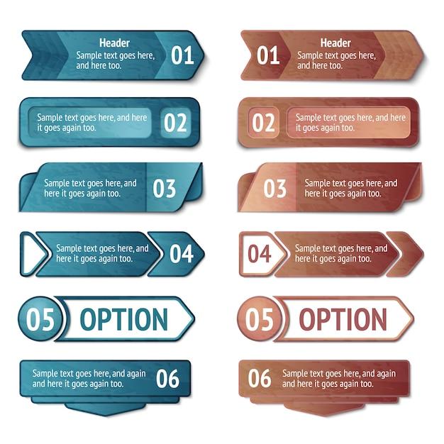Opcje infografiki retro kartonowe Darmowych Wektorów