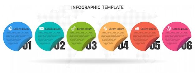 Opcje szablonu infographic koło osi czasu lub kroki. Premium Wektorów