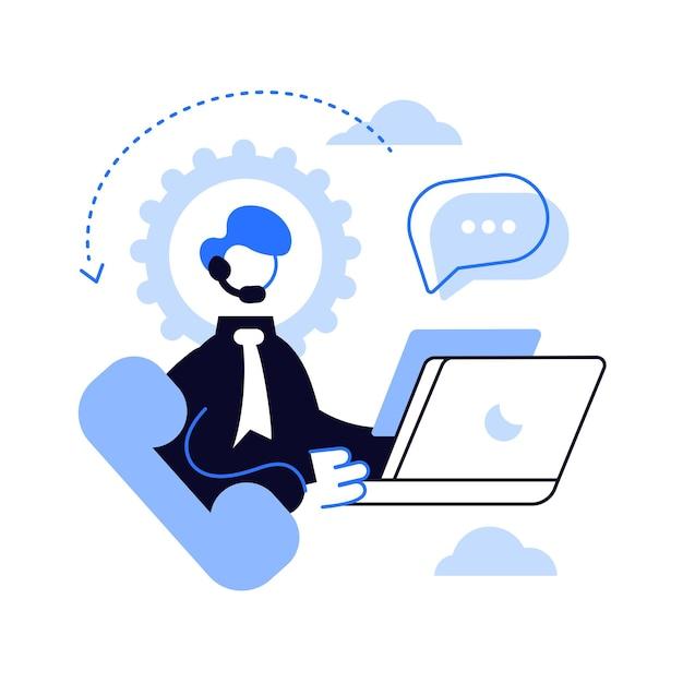 Operator Call Center Z Zestawem Słuchawkowym Przy Komputerze Wewnątrz Sprzętu. Premium Wektorów