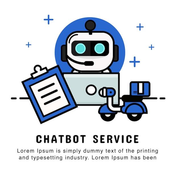 Operator Robota Zakupy Online Z Zamówieniem I Usługą Dostawy. Chatbot Premium Wektorów