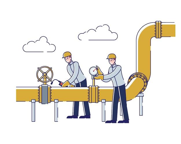 Operatorzy Monitorujący I Kontrolujący Gaz Premium Wektorów