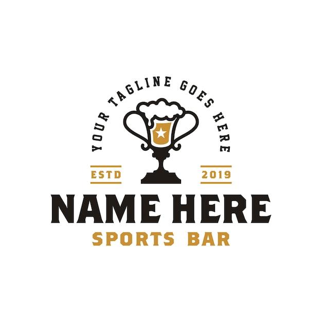 Ophy cup & beer na logo vintage retro sport bar Premium Wektorów