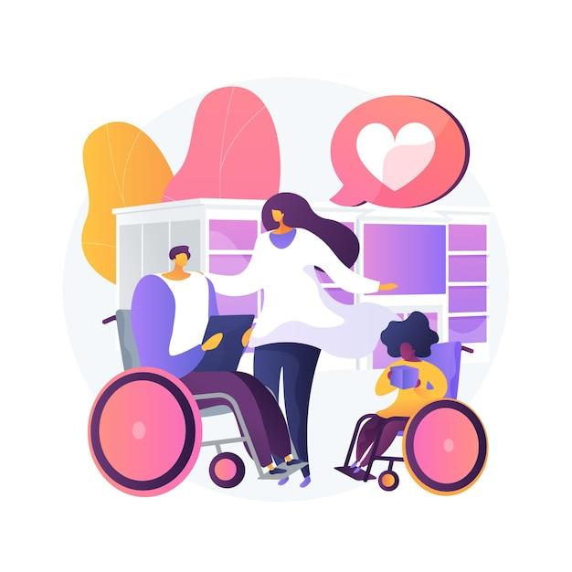 Opieka Nad Niepełnosprawnymi Ilustracji Wektorowych Abstrakcyjna Koncepcja. Opieka Nad Niepełnosprawnością, Zespół Downa, Senior Na Wózku Inwalidzkim, Pomoc Dla Osób Starszych, Profesjonalna Opieka Domowa - Abstrakcyjna Metafora. Darmowych Wektorów