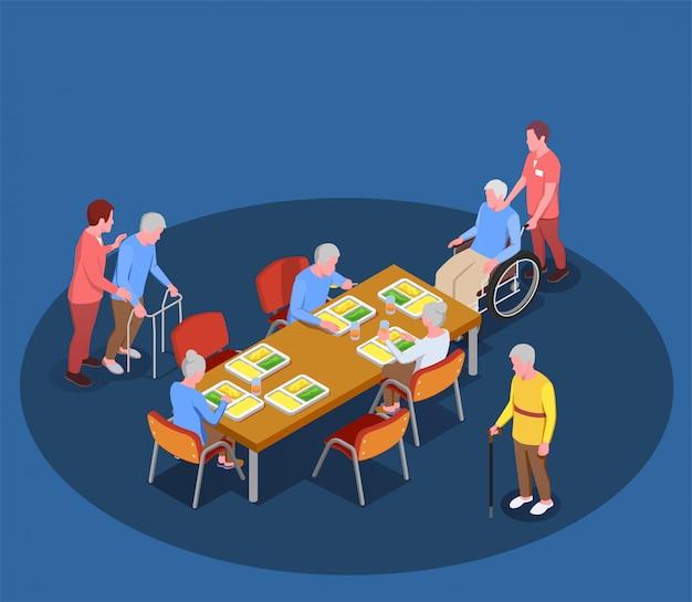 Opieka Nad Osobami Starszymi W Izometrycznej Ilustracji Domu Opieki Z Mieszkańcami Spotykającymi Się W Jadalni Z Pomocą Opiekunów Darmowych Wektorów