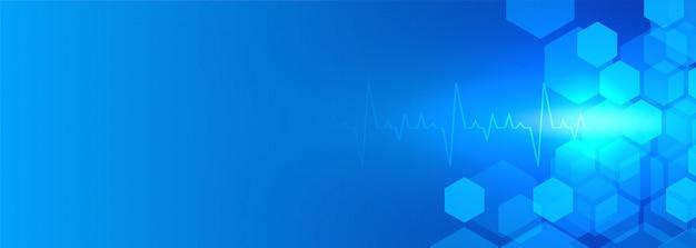 Opieka zdrowotna i medyczny błękitny tło sztandar Darmowych Wektorów