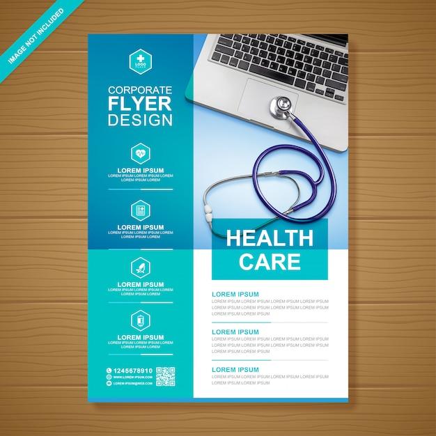 Opieki zdrowotnej i medycznej szablon projektu ulotki a4 Premium Wektorów