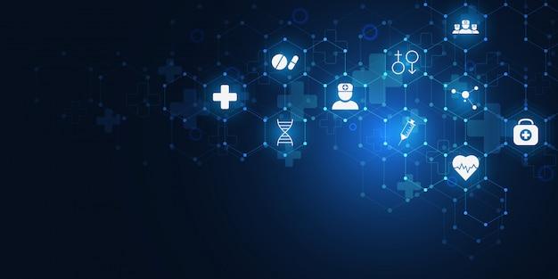 Opieki Zdrowotnej I Medycznej Z Płaskim Ikony I Symbole. Premium Wektorów