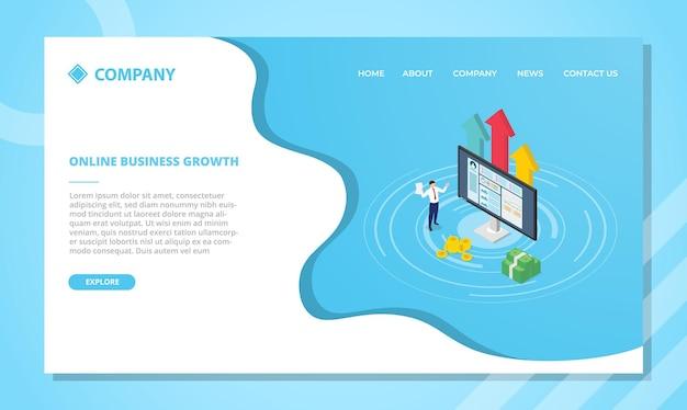 Opłacalna Koncepcja Biznesowa Online. Szablon Strony Internetowej Lub Projekt Strony Głównej Docelowej W Stylu Izometrycznym Darmowych Wektorów