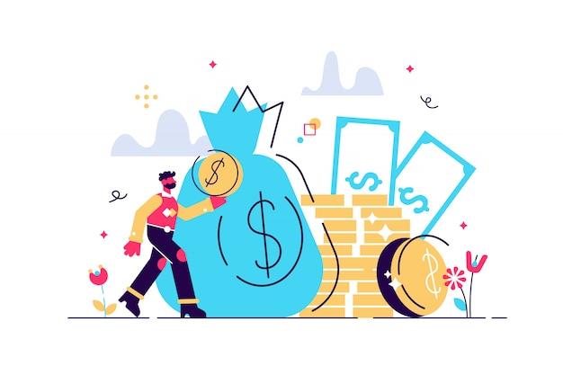 Opłaty I Finansowanie, Bogate Finanse Do Zarabiania Waluty, Koncepcja Kapitału, Transfer Pieniędzy, Handel Elektroniczny, Ilustracja Rachunkowości Ekonomicznej Sukcesu. Wiele Monet Pieniężnych Premium Wektorów