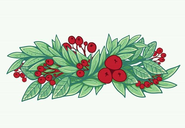 Oprawa jodły do dekoracji świątecznych Premium Wektorów