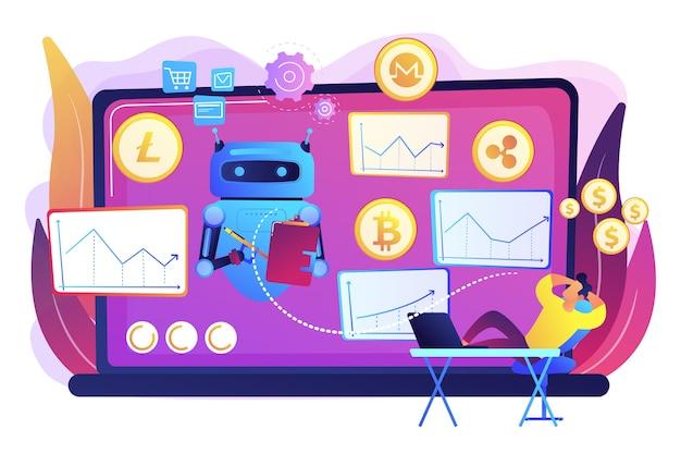 Oprogramowanie Do Wydobywania Kryptowalut, Sztuczna Inteligencja Dla E-biznesu. Bot Do Handlu Kryptowalutami, Zautomatyzowane Transakcje Ai, Najlepsza Koncepcja Bota Do Handlu Bitcoinami. Darmowych Wektorów