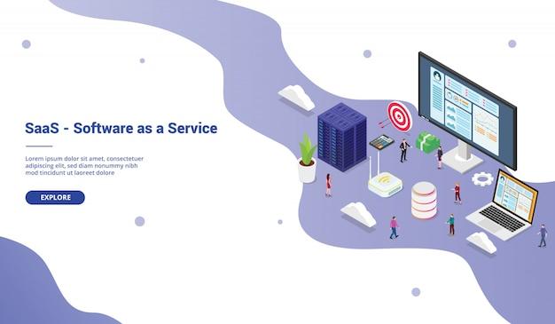 Oprogramowanie saas jako koncepcja biznesowa usług z wielkim słowem dla ludzi z zespołu na stronie internetowej z szablonem strony startowej z izometrycznym, nowoczesnym stylem Premium Wektorów