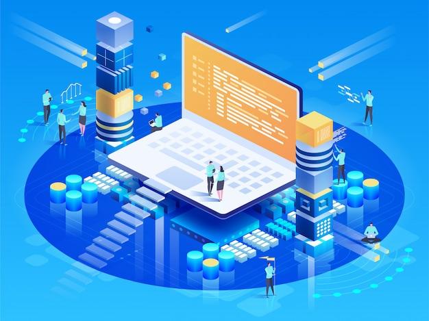 Oprogramowanie, tworzenie stron internetowych, koncepcja programowania. osoby wchodzące w interakcje z laptopem Premium Wektorów
