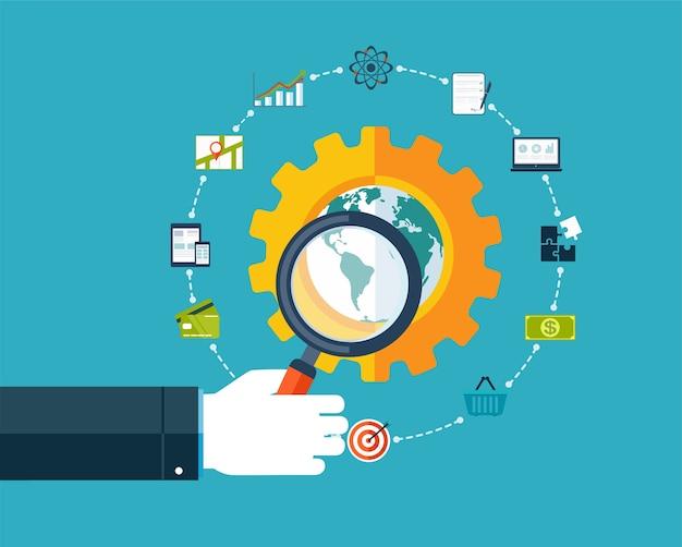 Optymalizacja Dla Wyszukiwarek, Ręka Z Lupą Wokół Ikon Biznesowych. Premium Wektorów