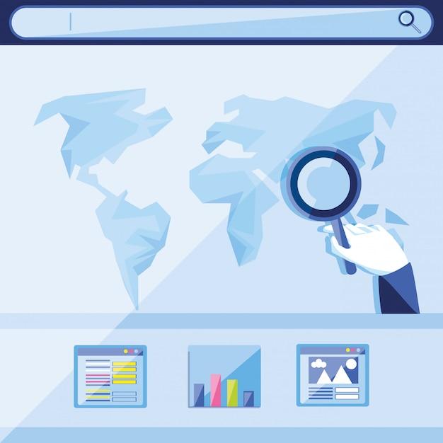 Optymalizacja Wyszukiwarek Z Planety światowej Premium Wektorów