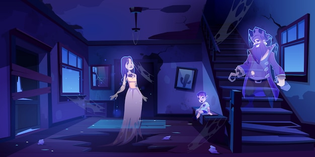Opuszczona Sala Domu Z Duchami Spaceruje W Ciemności Darmowych Wektorów