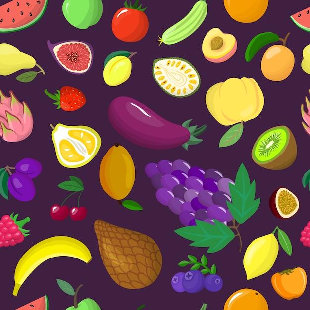 Organiczna Jarzynowa Tropikalna Owocowa Bezszwowa Deseniowa Ilustracja. Zdrowy Ekologiczny Produkt Spożywczy. Opakowanie Na Papier Pakowy. Premium Wektorów