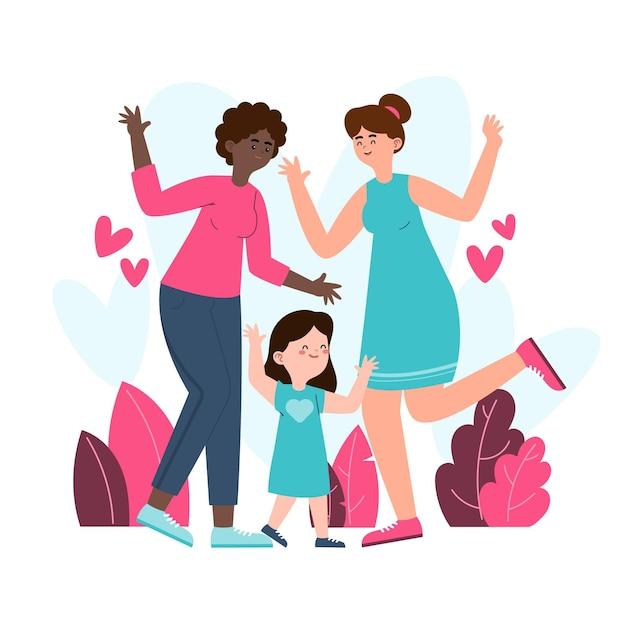 Organiczne Mieszkanie Ilustracja Para Lesbijek Z Dzieckiem Darmowych Wektorów