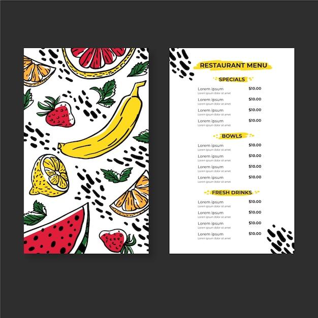 Organiczne Zdrowe świeże Jedzenie I Napoje W Menu Restauracji Darmowych Wektorów