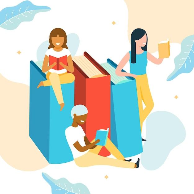 Organiczny światowy Dzień Książki Ilustracja Z Czytającymi Kobietami Darmowych Wektorów