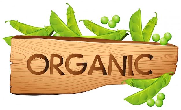 Organiczny Znak Z Zielenią Premium Wektorów