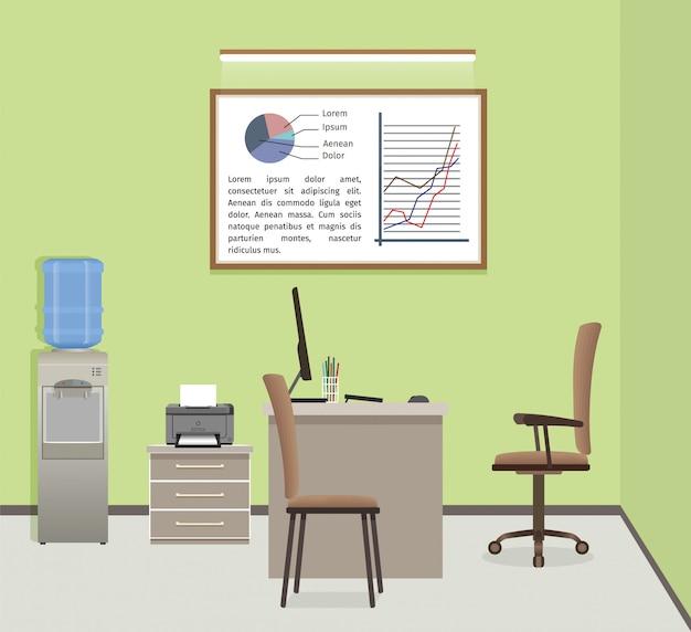 Organizacja Przestrzeni Roboczej Biura. Biznesowy Projekt Wnętrz Z Meblami I Oknem. Premium Wektorów