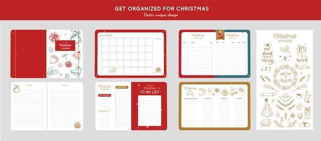 Organizator Przed Wesołych świąt, Planer Z Ręcznie Rysowanymi Ilustracjami I Odręczną Kaligrafią. Premium Wektorów