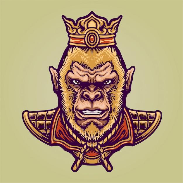 Orientalna Postać Króla Małpy Premium Wektorów